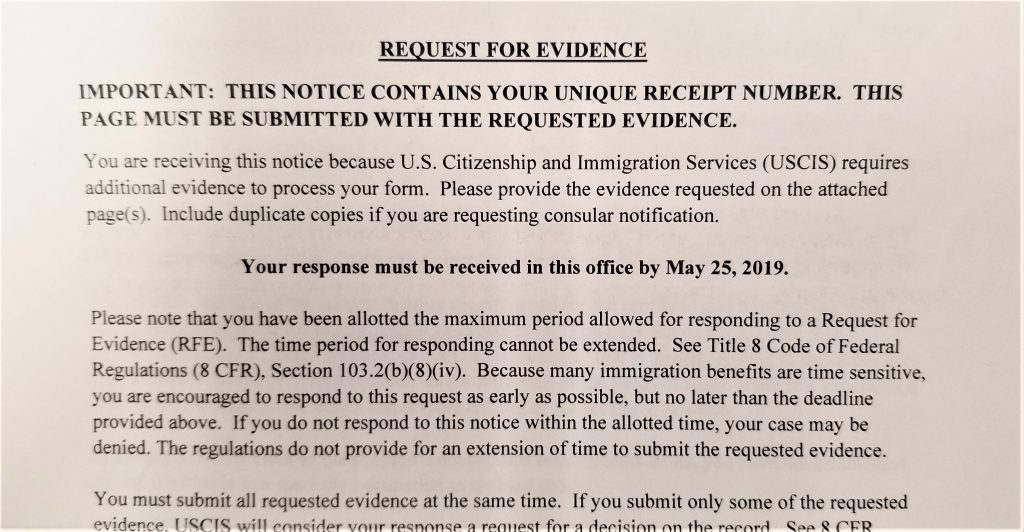 H-1B work visa RFE response strategy